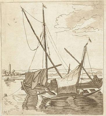 Bos Bos Drawing - Two Sailboats In A River, Anthonie Van Den Bos by Artokoloro