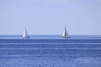 Photograph - Two Sailboats On Open Sea Horizon by Brch Photography
