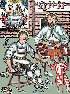 Two Saints Make Shoes Being Tempted Art Print by Prisma Archivo