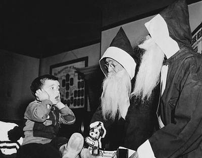 Shock Photograph - Two Santas Too Much For Boy by Underwood Archives