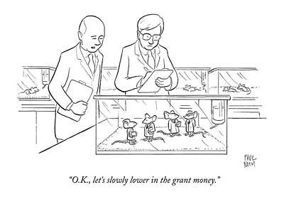 Rodent Wall Art - Drawing - Two Scientists In Lab Coats Observe A Group by Paul Noth