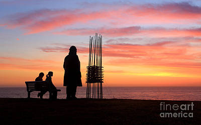 Observer Photograph - Two Sculptures Two Spectators Sunrise Sculpture By The Sea by Leah-Anne Thompson