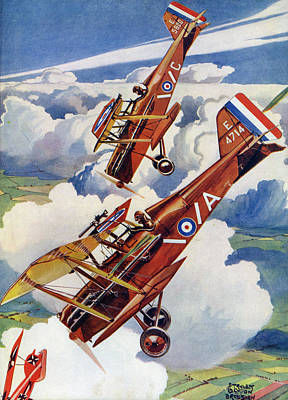 Albatross Drawing - Two Se5s Pursue An 'albatross  D by Mary Evans Picture Library