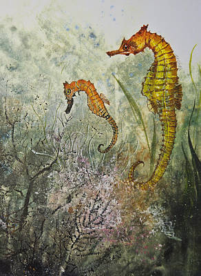 Two Sea Horses Art Print by Nancy Gorr