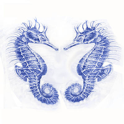 Digital Art - Two Seahorses- Blue by Jane Schnetlage