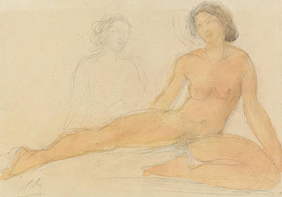 Two Ladies Drawing - Two Seated Nudes by Auguste Rodin