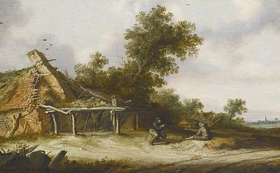 Ruin Painting - Two Seated Travellers by Celestial Images