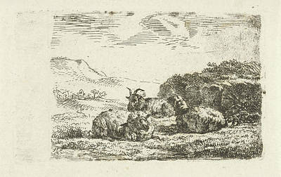 Ram Sheep Drawing - Two Sheep And A Ram Lying Next To A Hill by Fr?d?ric Th?odore Faber