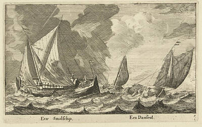 Dam Drawing - Two Ships A Small Ship And A Dam Runner by Anonymous And Reinier Nooms