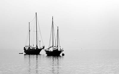 Photograph - Two Ships In The Fog by AJ  Schibig