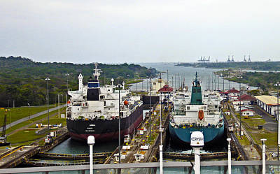 Photograph - Two Ships In The Locks Panama Canal by Kurt Van Wagner