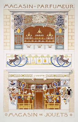 Drum Drawing - Two Shop-front Designs A Perfume by Rene Binet