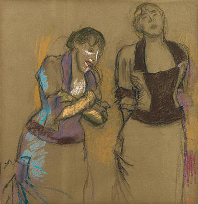 Drawing - Two Singers In A Cafe Concert by Edgar Degas
