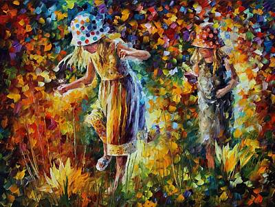 Two Sisters Painting - Two Sisters by Leonid Afremov