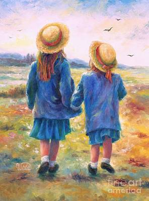 Two Girls Painting - Two Sisters by Vickie Wade