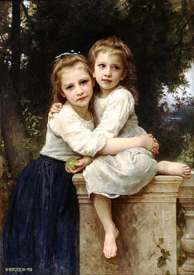 Hugs Digital Art - Two Sisters by William Bouguereau