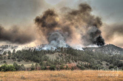 Print featuring the photograph Two Smoke Columns White Draw Fire by Bill Gabbert