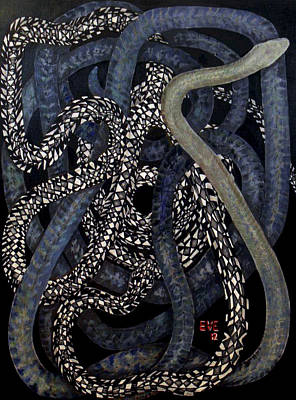 Snake Scales Painting - Two Snakes by Beverly Strickler