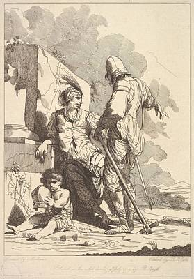 Two Soldiers And Child Holding A Helmet Art Print by Etched and published by Robert Blyth