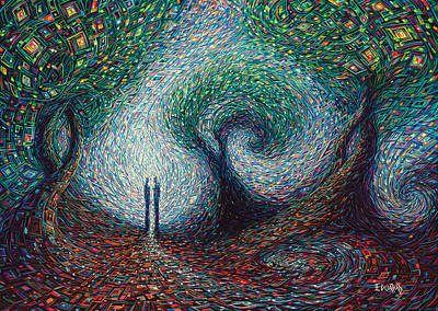 Human Landscape Painting - Two Souls by Eduardo Rodriguez