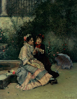 Umbrella Painting - Two Spanish Women by Ricardo de Madrazo y Garreta