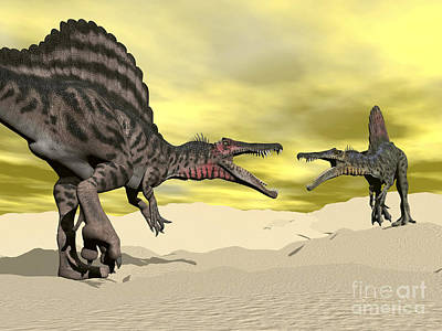 Anger Digital Art - Two Spinosaurus Dinosaur Fighting by Elena Duvernay