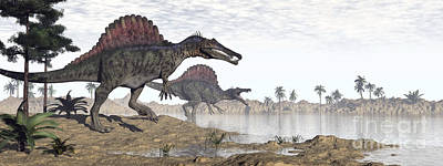 Dry Lake Digital Art - Two Spinosaurus Dinosaurs Walking by Elena Duvernay