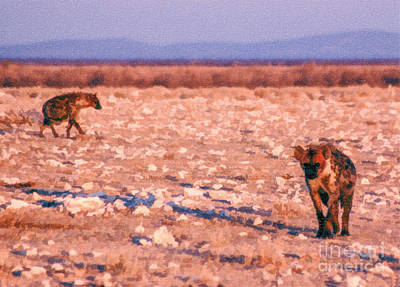 Digital Art - Two Spotted Hyenas by Liz Leyden