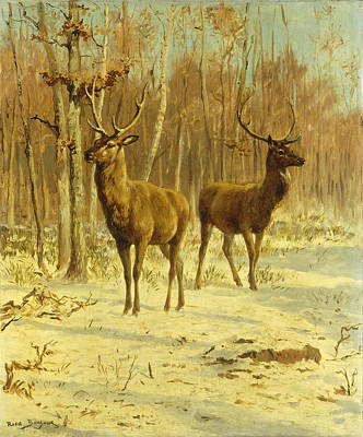 Stag Painting - Two Stags In A Clearing In Winter by Rosa Bonheur