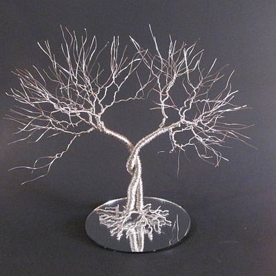 Wire Tree Sculpture - Two Standing Together Wedding Cake Topper Sculpture by Ken Phillips