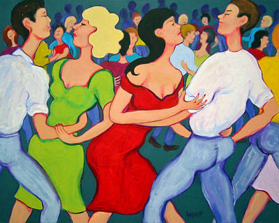 Painting - Cajun Dance Hall - Two Stepping At Tees Place by Rebecca Korpita