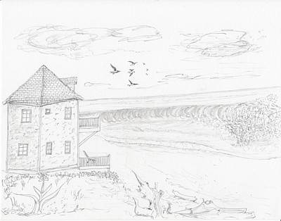 Drawing - Two Story Beach House by Jim Taylor