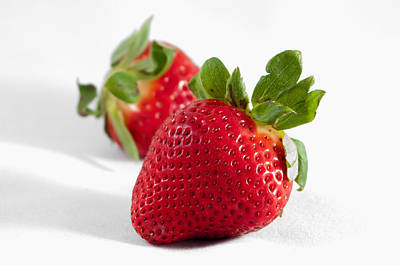 Photograph - Two Strawberries Isolated On White Background by Alex Grichenko