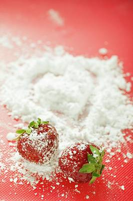 Two Strawberries With Icing Sugar Art Print