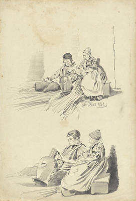 Loon Drawing - Two Studies Of A Boy And Girl With Jug, Pieter Van Loon by Quint Lox