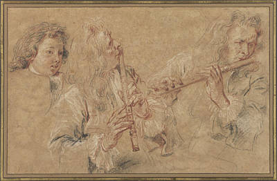Two Heads Painting - Two Studies Of A Flutist And A Study Of The Head Of A Boy by Celestial Images