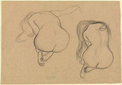 Klimt Drawing - Two Studies Of A Seated Nude With Long Hair Gustav Klimt by Litz Collection
