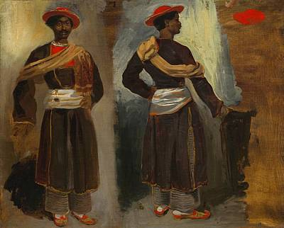 Calcutta Painting - Two Studies Of A Standing Indian From Calcutta by Eugene Delacroix