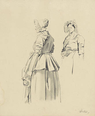 Loon Drawing - Two Studies Of A Standing Woman With Jug by Quint Lox