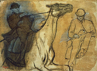 Pen And Paper Painting - Two Studies Of Riders by Edgar Degas