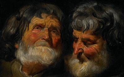 Old Age Painting - Two Studies Of The Head Of An Old Man by Jacob Jordaens