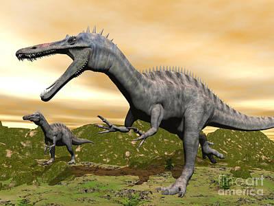 Triassic Digital Art - Two Suchomimus Dinosaurs Running by Elena Duvernay