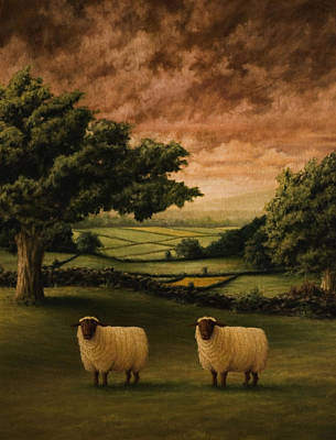 Sheep Painting - Two Suffolks by Mark Zelmer