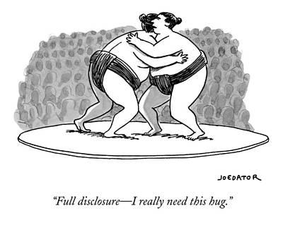 Hug Drawing - Two Sumo Wrestlers Lock Arms by Joe Dator