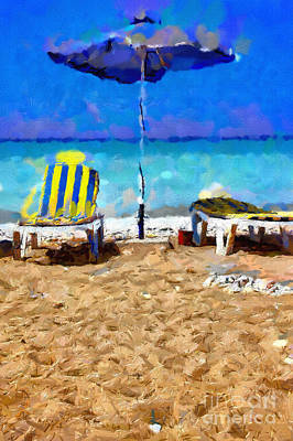 Two Sun-chairs And Umbrella Painting Art Print by Magomed Magomedagaev