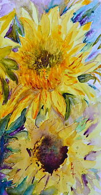 Two Sunflowers Art Print by Beverley Harper Tinsley