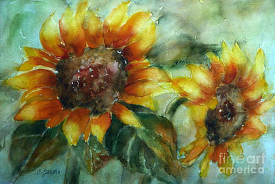 Painting - Two Sunflowers by Carolyn Jarvis