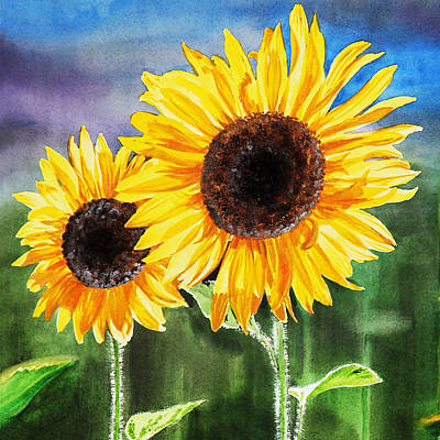 Sunflowers Royalty-Free and Rights-Managed Images - Two Sunflowers by Irina Sztukowski