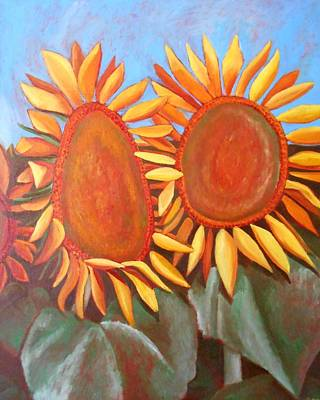 Sky Painting - Two Sunflowers by Megan Melonas