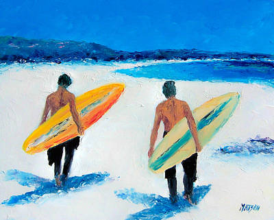 Byron Bay Painting - Two Surfers At Byron Bay by Jan Matson
